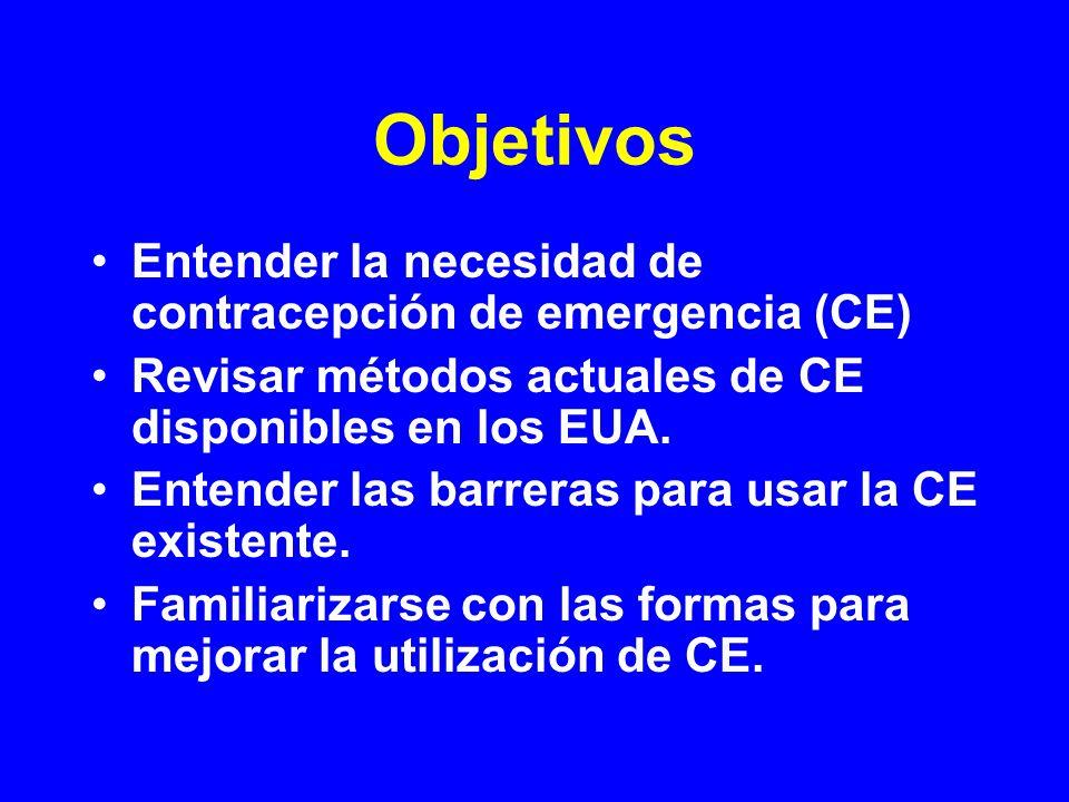 Objetivos Entender la necesidad de contracepción de emergencia (CE)