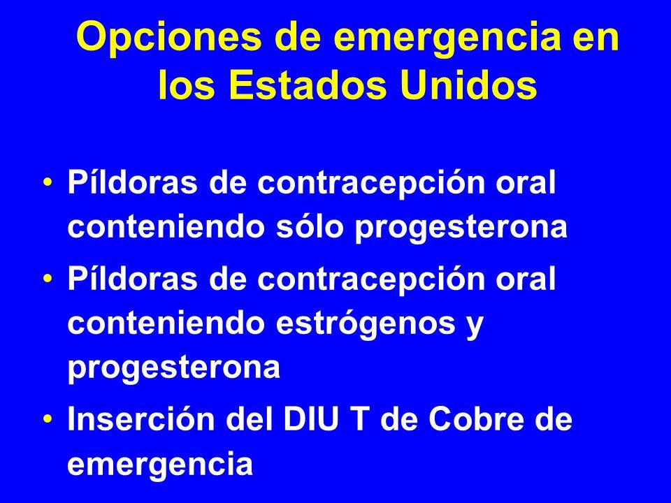 Opciones de emergencia en los Estados Unidos