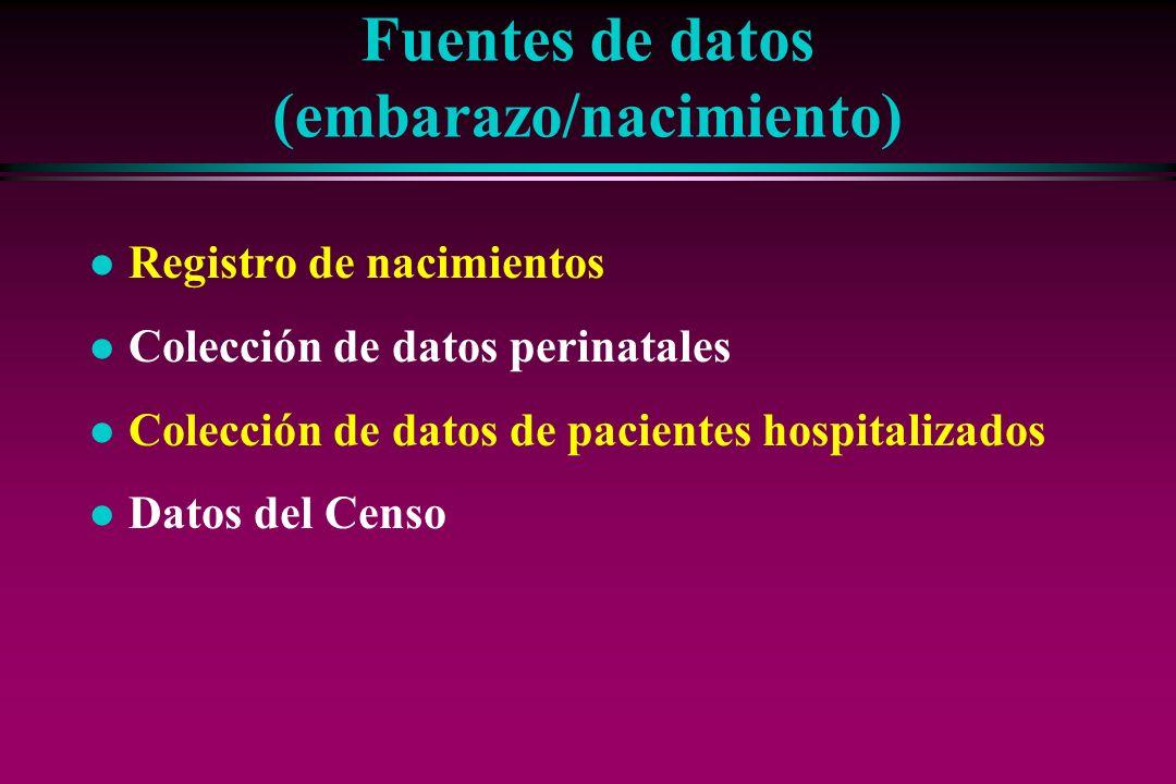 Fuentes de datos (embarazo/nacimiento)
