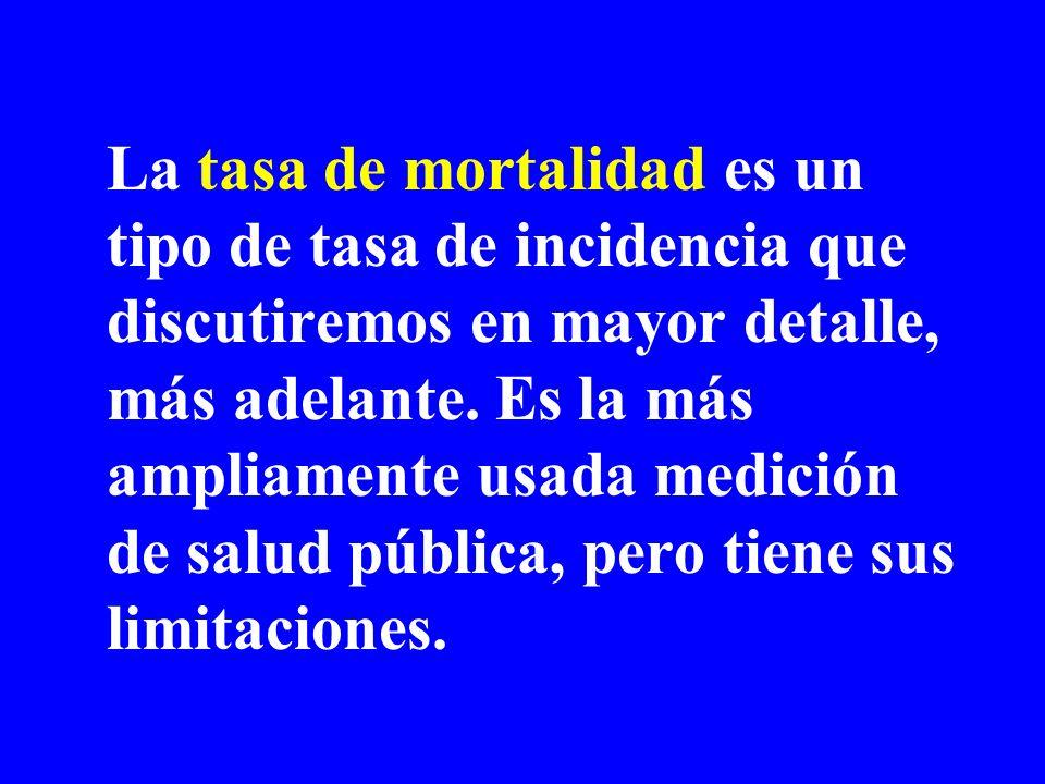 La tasa de mortalidad es un tipo de tasa de incidencia que discutiremos en mayor detalle, más adelante.