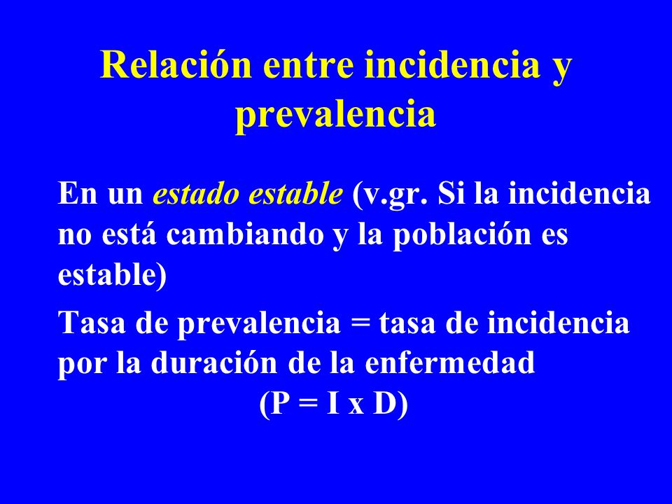 Relación entre incidencia y prevalencia