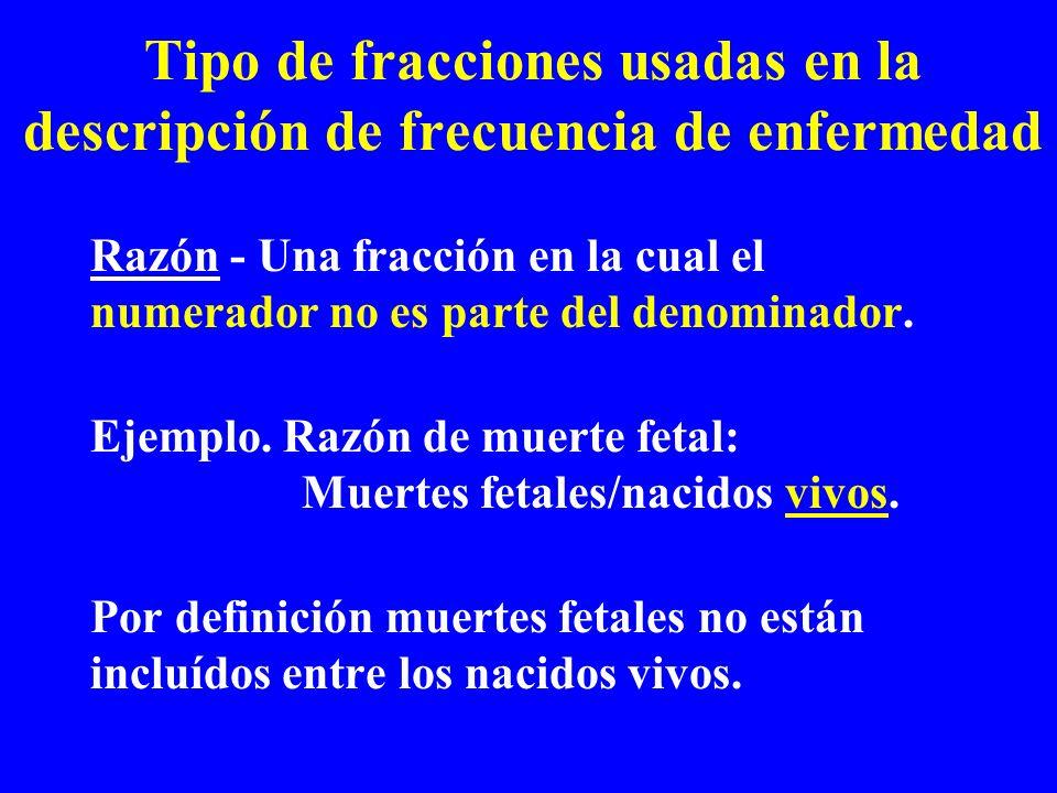 Tipo de fracciones usadas en la descripción de frecuencia de enfermedad