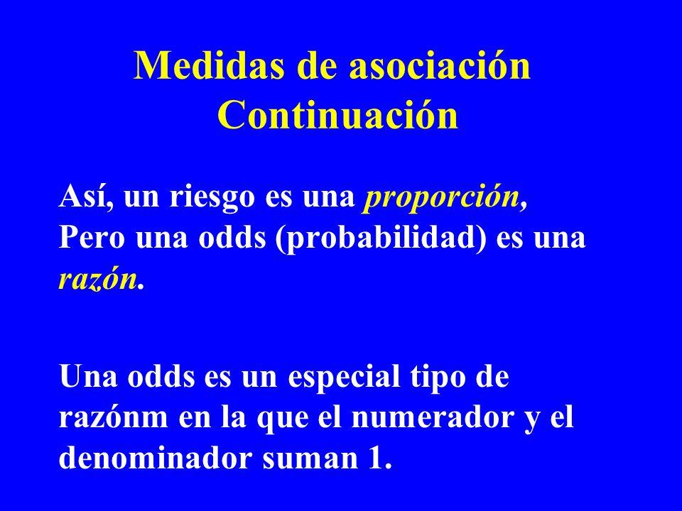 Medidas de asociación Continuación