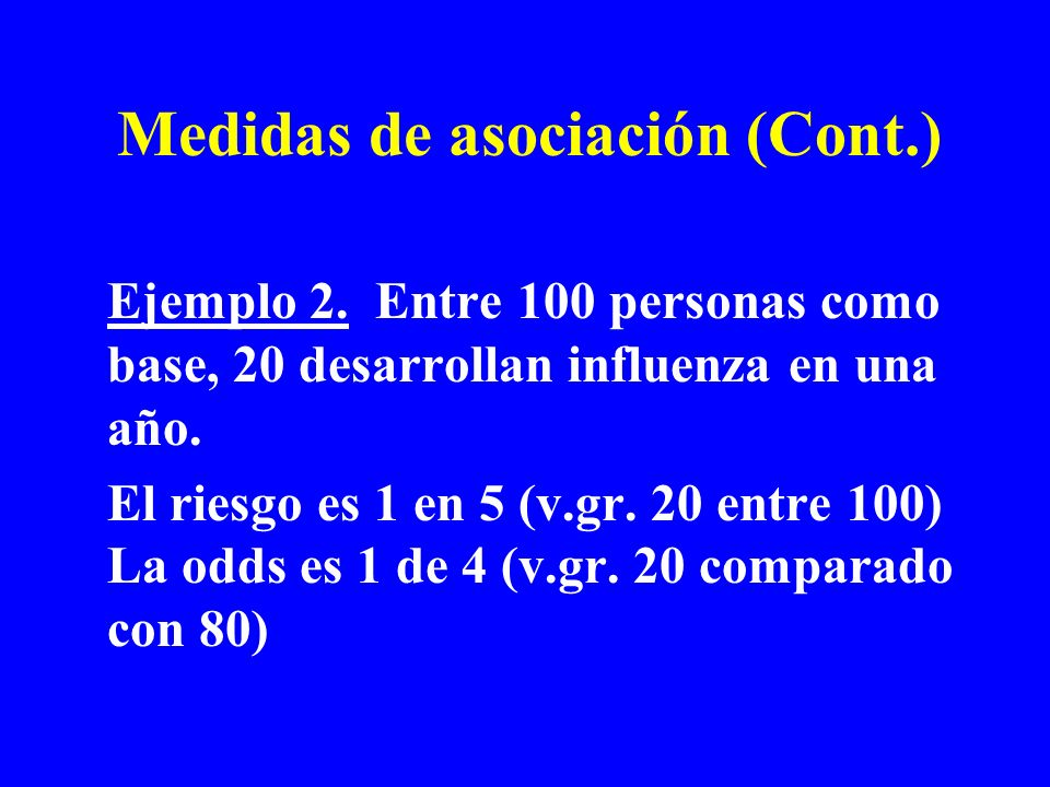 Medidas de asociación (Cont.)
