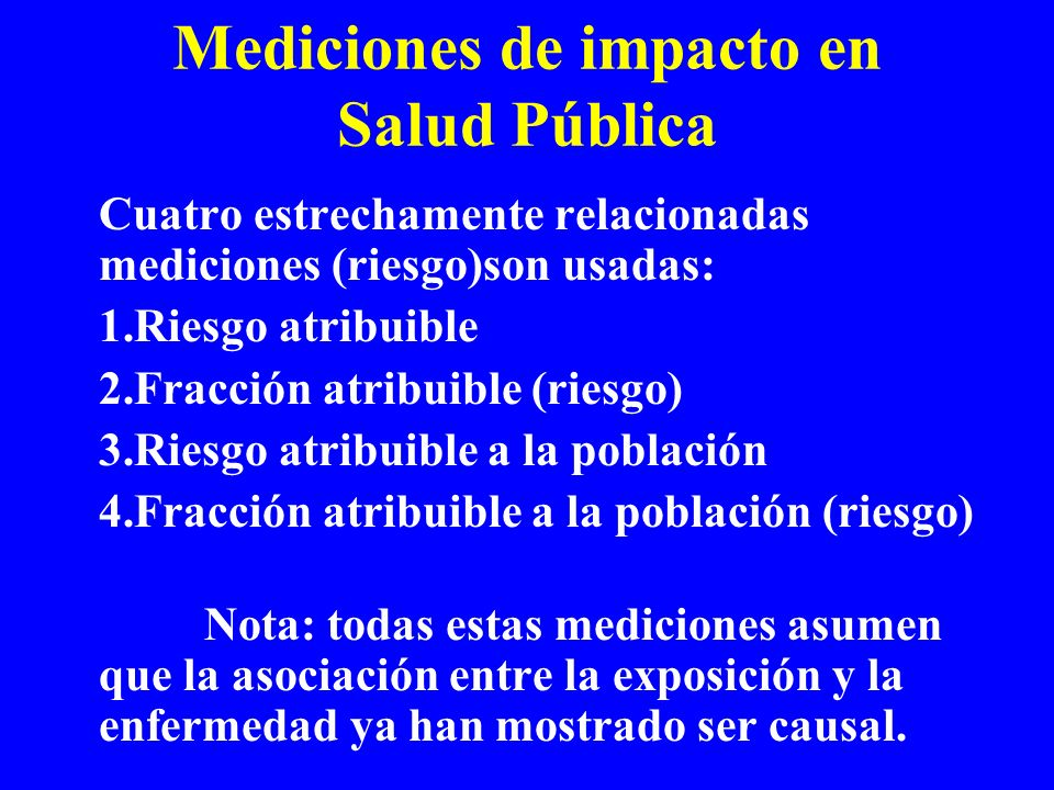Mediciones de impacto en Salud Pública