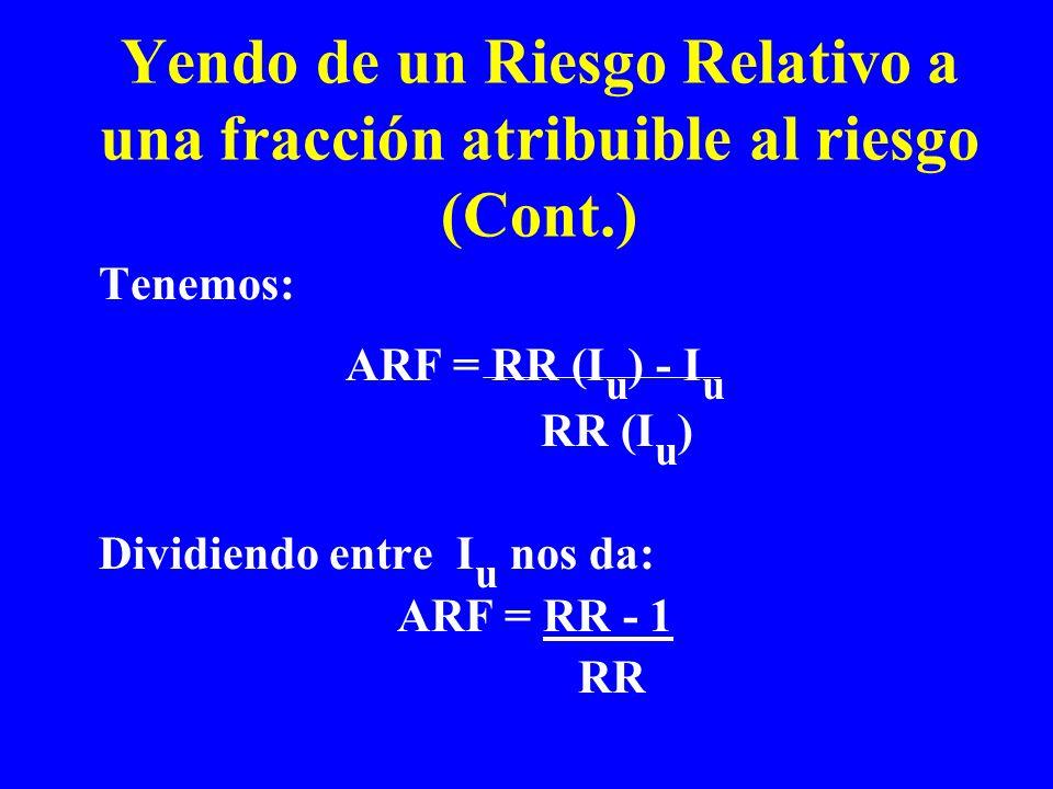 Yendo de un Riesgo Relativo a una fracción atribuible al riesgo (Cont