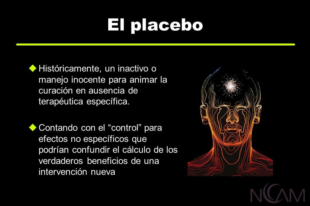 El placeboHistóricamente, un inactivo o manejo inocente para animar la curación en ausencia de terapéutica específica.