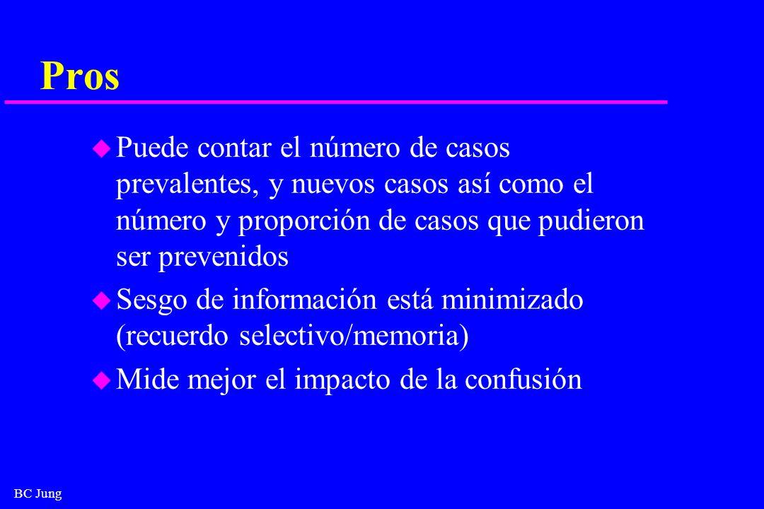 Pros Puede contar el número de casos prevalentes, y nuevos casos así como el número y proporción de casos que pudieron ser prevenidos.