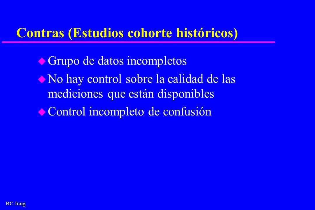 Contras (Estudios cohorte históricos)