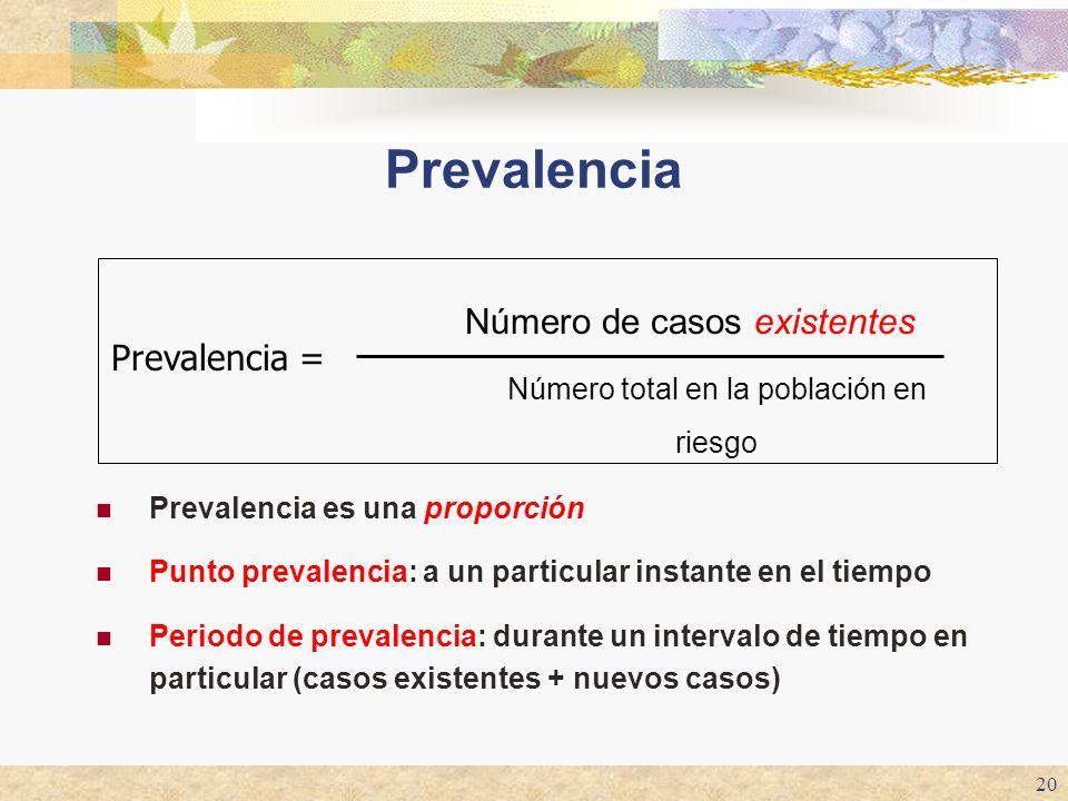Prevalencia Número de casos existentes Prevalencia =