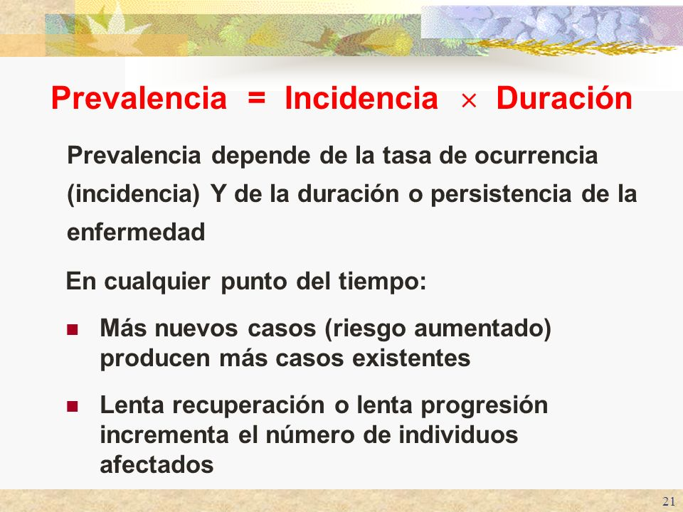 Prevalencia = Incidencia  Duración