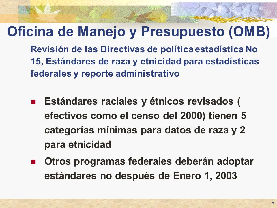 Oficina de Manejo y Presupuesto (OMB)