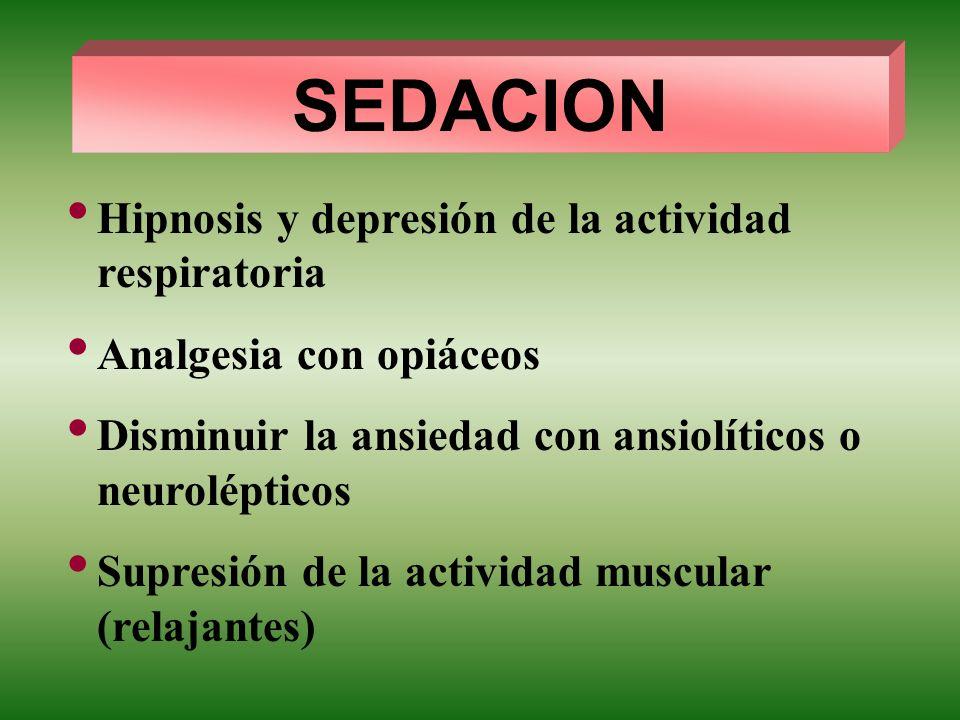SEDACION Hipnosis y depresión de la actividad respiratoria