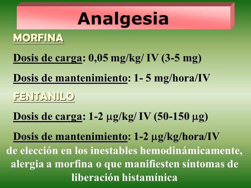 Analgesia MORFINA Dosis de carga: 0,05 mg/kg/ IV (3-5 mg)