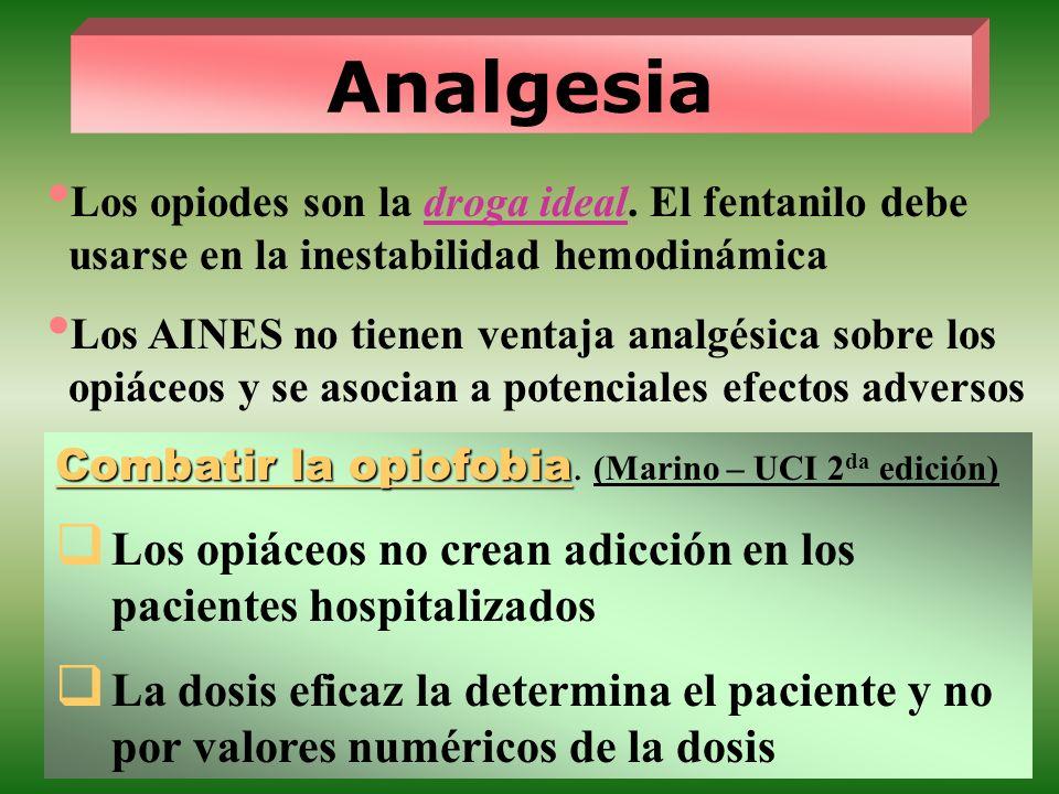 Analgesia Los opiodes son la droga ideal. El fentanilo debe usarse en la inestabilidad hemodinámica.