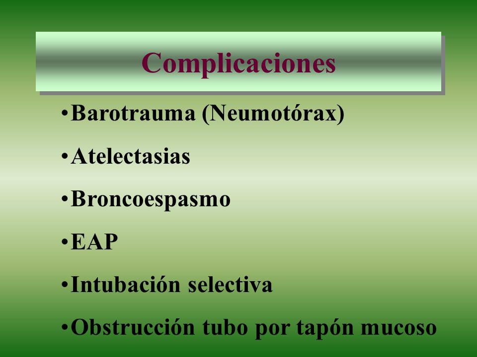 Complicaciones Barotrauma (Neumotórax) Atelectasias Broncoespasmo EAP