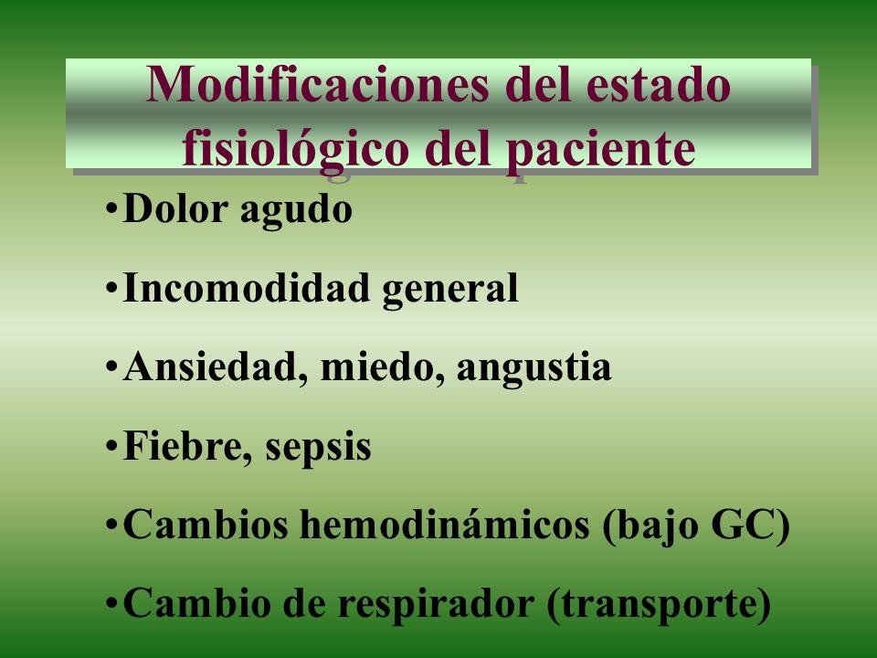 Modificaciones del estado fisiológico del paciente