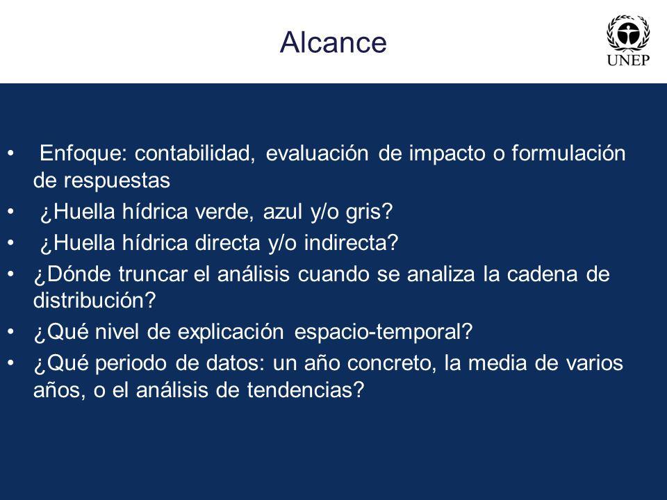 Alcance • Enfoque: contabilidad, evaluación de impacto o formulación de respuestas. • ¿Huella hídrica verde, azul y/o gris