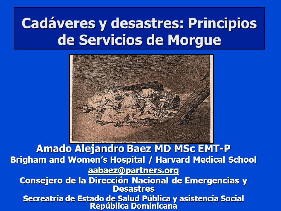 Cadáveres y desastres: Principios de Servicios de Morgue