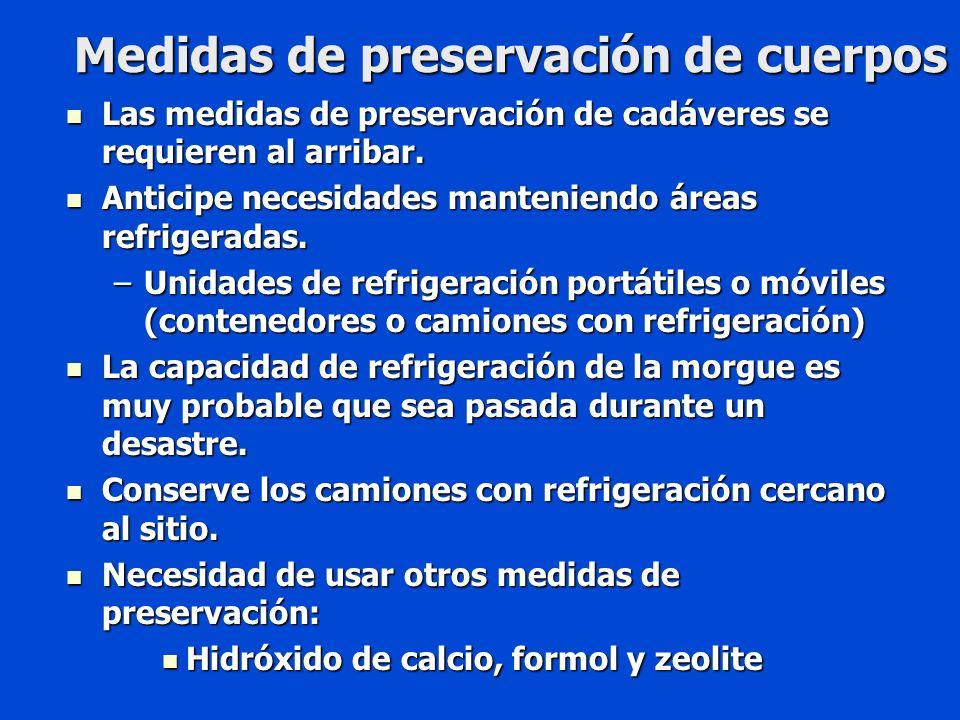 Medidas de preservación de cuerpos