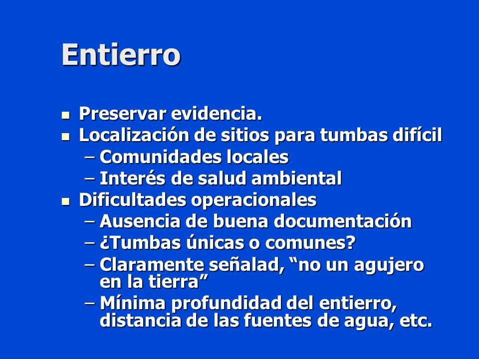 Entierro Preservar evidencia.