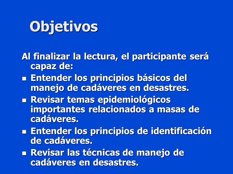 Objetivos Al finalizar la lectura, el participante será capaz de: