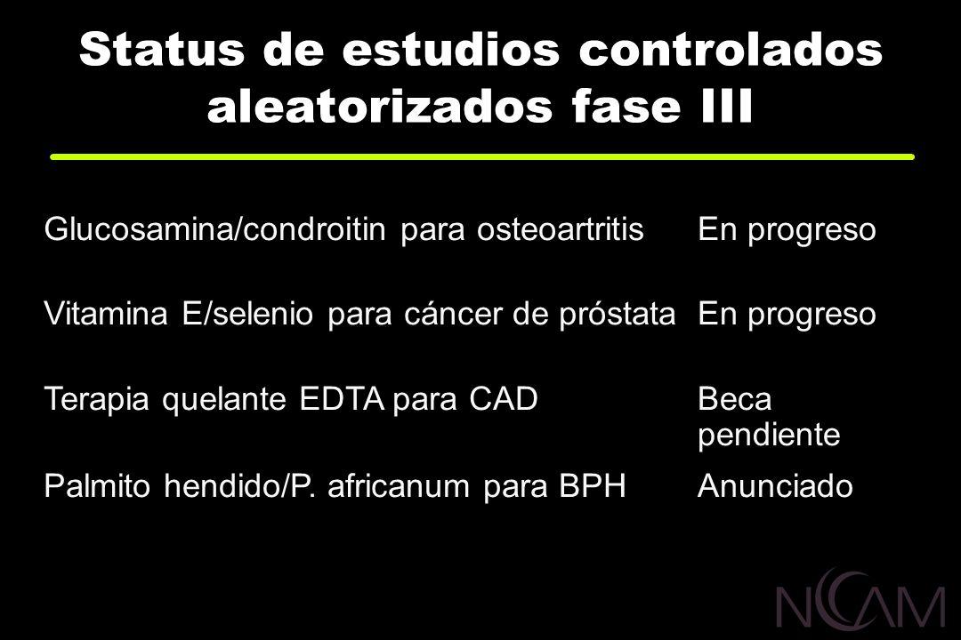 Status de estudios controlados aleatorizados fase III