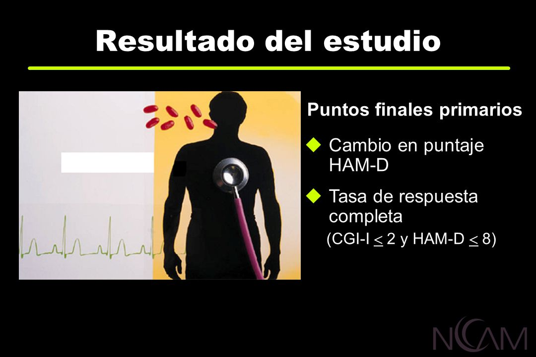 Resultado del estudio Puntos finales primarios Cambio en puntaje HAM-D