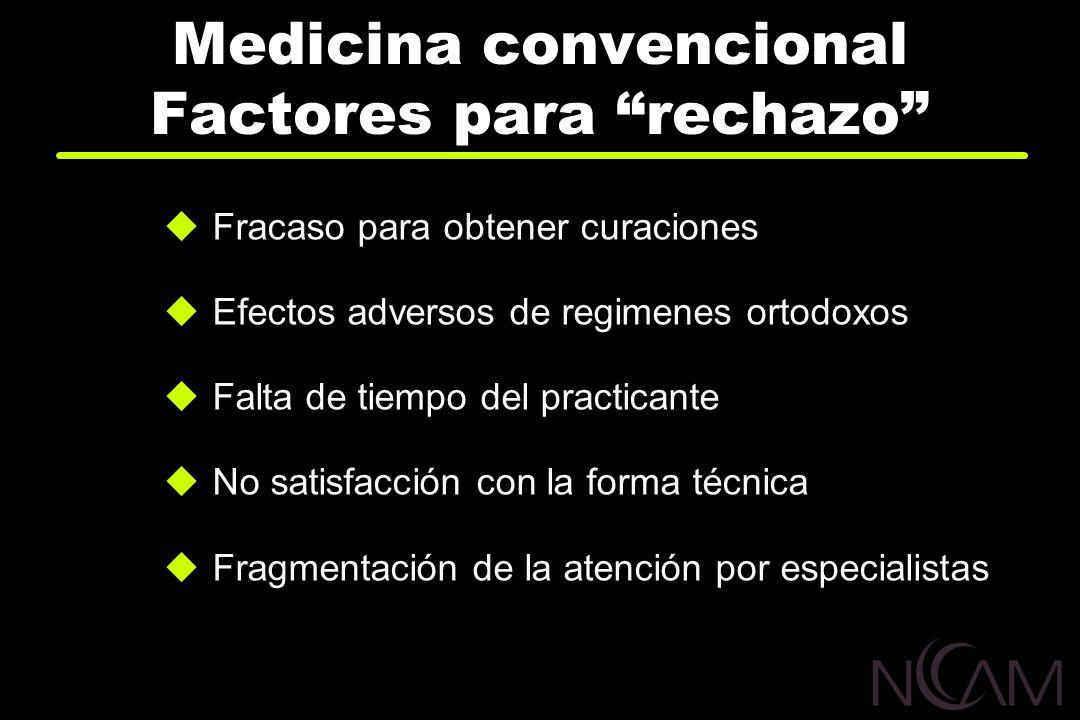 Medicina convencional Factores para rechazo