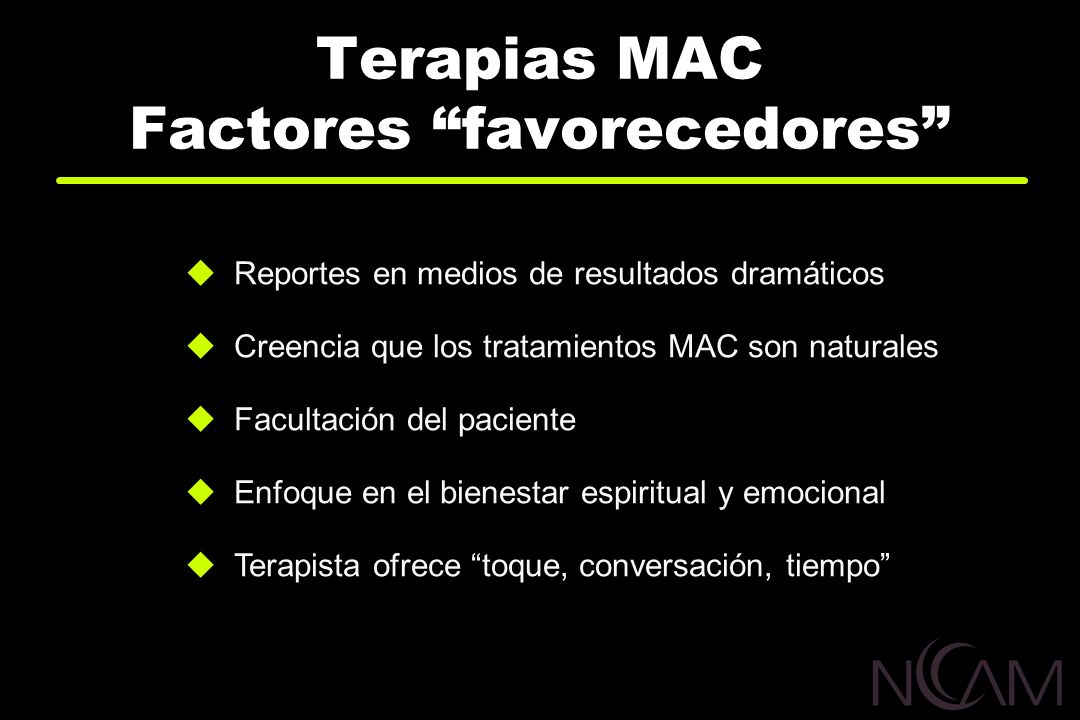 Terapias MAC Factores favorecedores