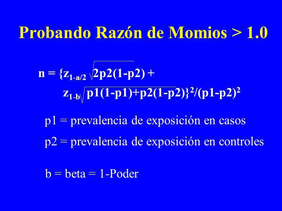 Probando Razón de Momios > 1.0