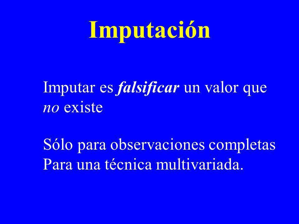 Imputación Imputar es falsificar un valor que no existe
