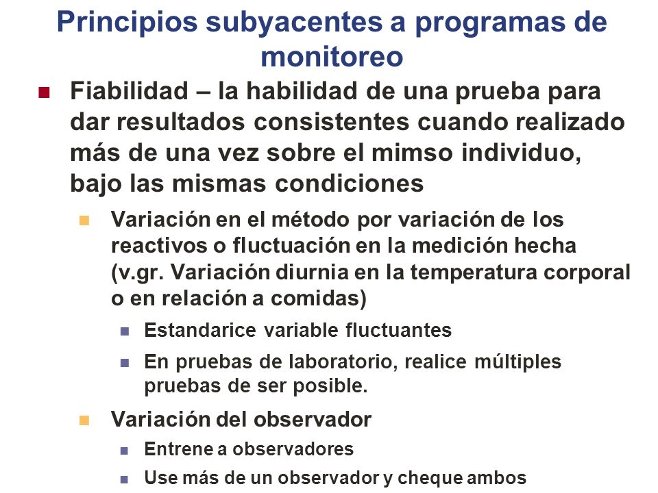Principios subyacentes a programas de monitoreo