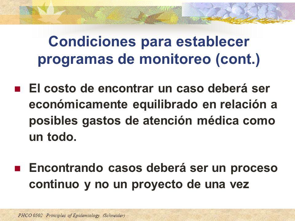 Condiciones para establecer programas de monitoreo (cont.)