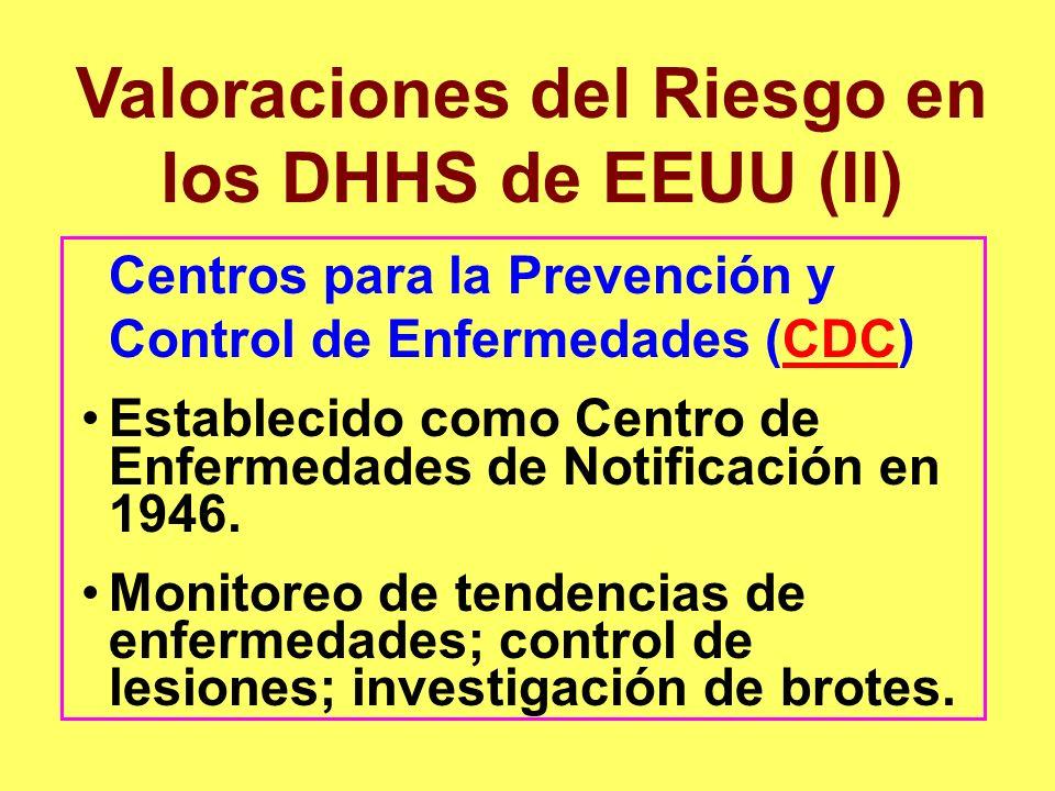 Valoraciones del Riesgo en los DHHS de EEUU (II)