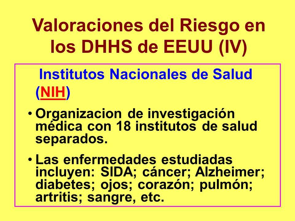 Valoraciones del Riesgo en los DHHS de EEUU (IV)
