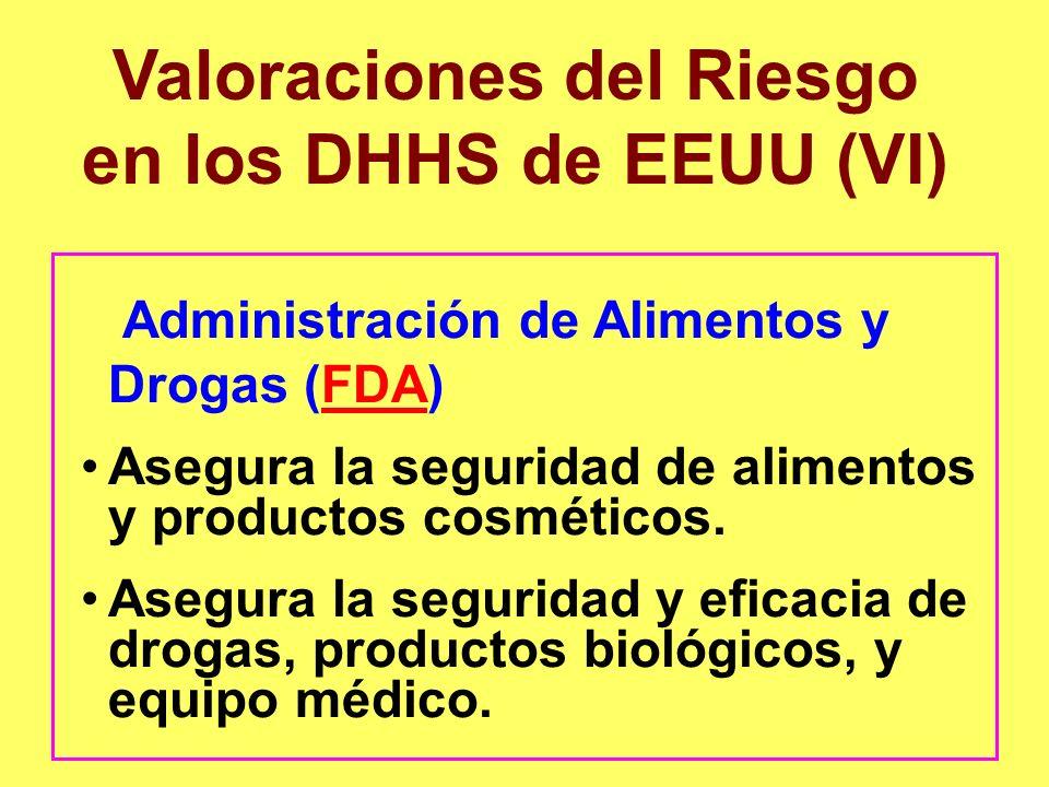 Valoraciones del Riesgo en los DHHS de EEUU (VI)