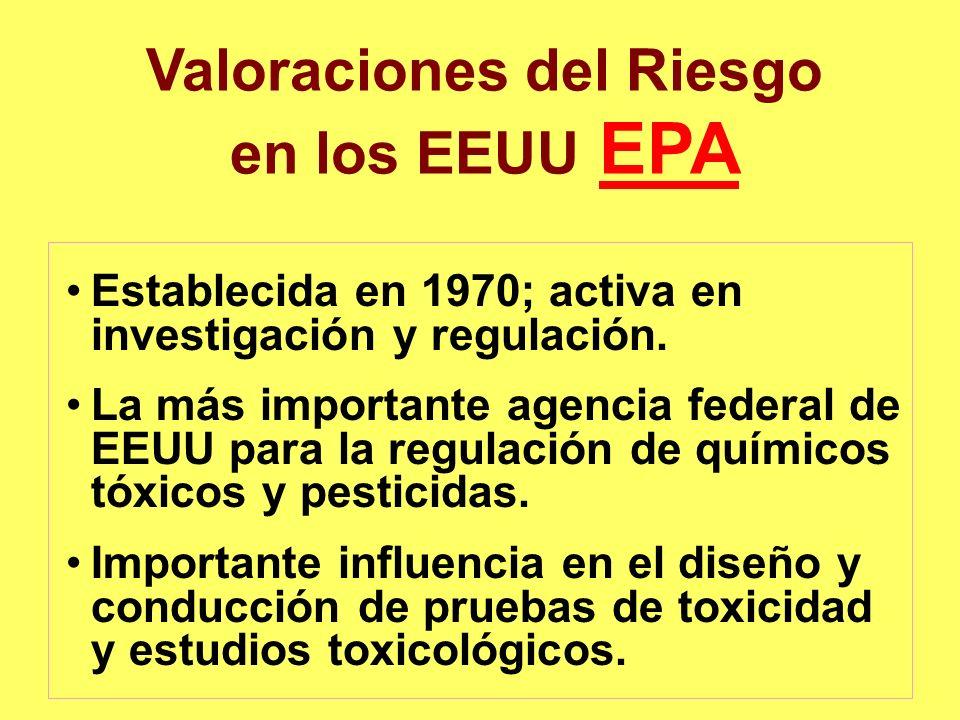 Valoraciones del Riesgo en los EEUU EPA