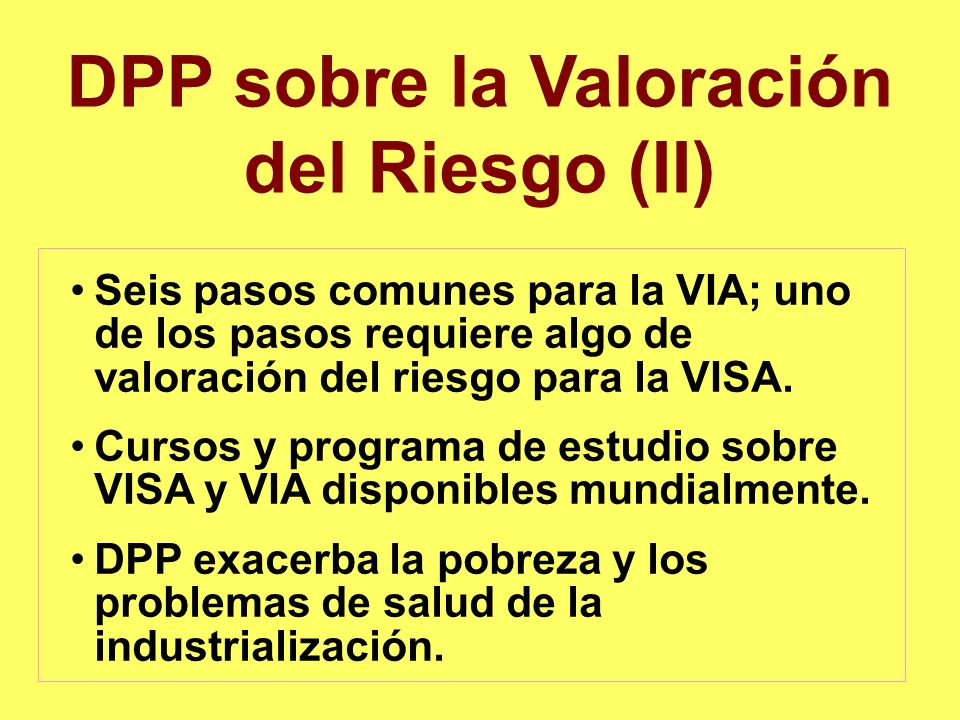 DPP sobre la Valoración del Riesgo (II)