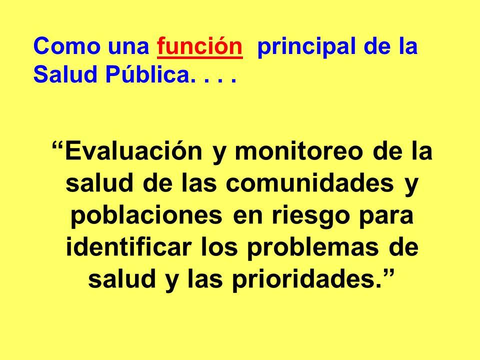 Como una función principal de la Salud Pública. . . .