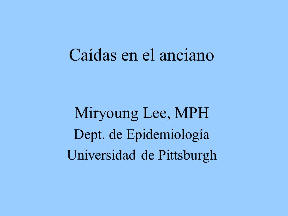 Miryoung Lee, MPH Dept. de Epidemiología Universidad de Pittsburgh
