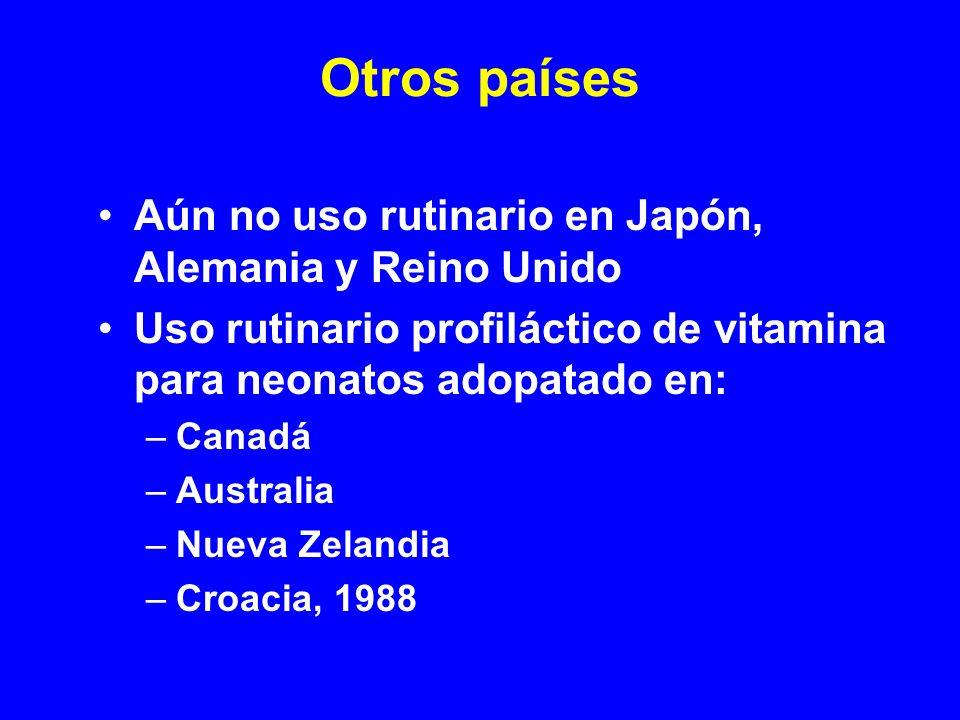 Otros países Aún no uso rutinario en Japón, Alemania y Reino Unido