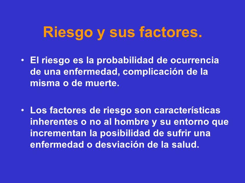 Riesgo y sus factores. El riesgo es la probabilidad de ocurrencia de una enfermedad, complicación de la misma o de muerte.
