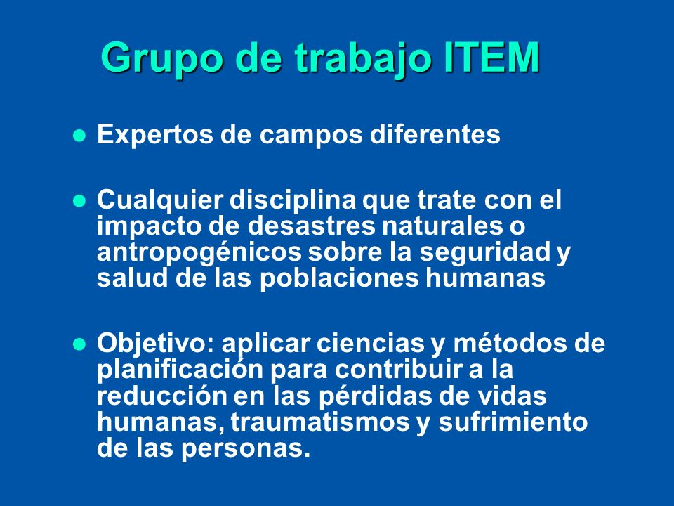Grupo de trabajo ITEM Expertos de campos diferentes