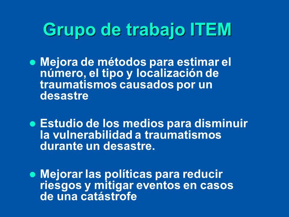 Grupo de trabajo ITEM Mejora de métodos para estimar el número, el tipo y localización de traumatismos causados por un desastre.