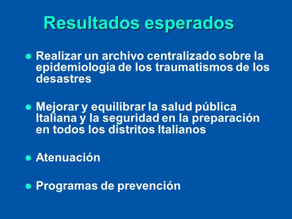 Resultados esperados Realizar un archivo centralizado sobre la epidemiología de los traumatismos de los desastres.
