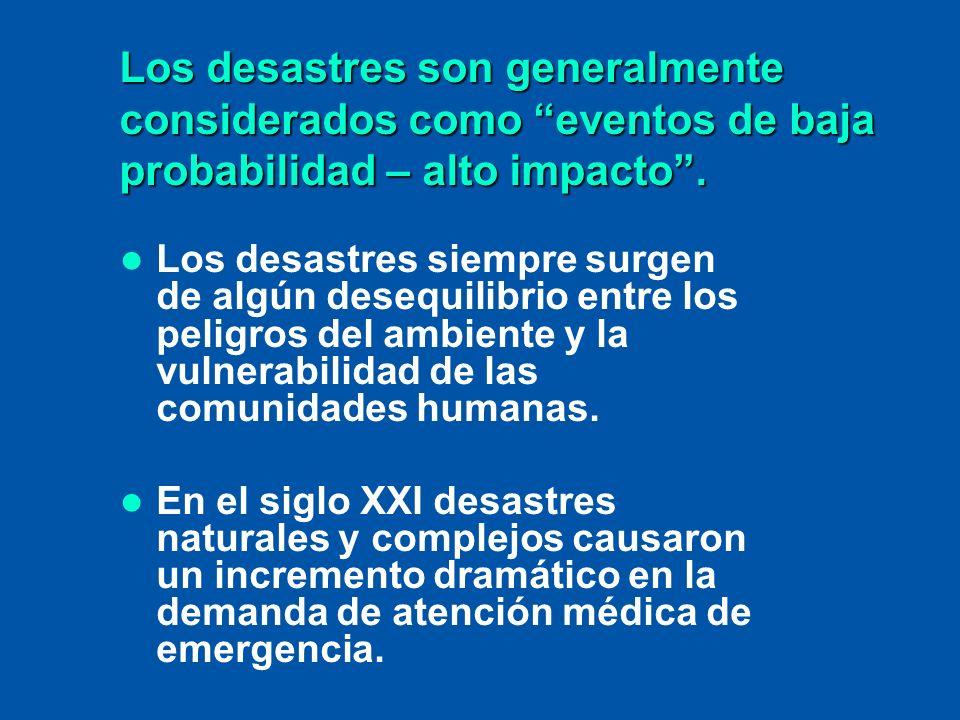 Los desastres son generalmente considerados como eventos de baja probabilidad – alto impacto .