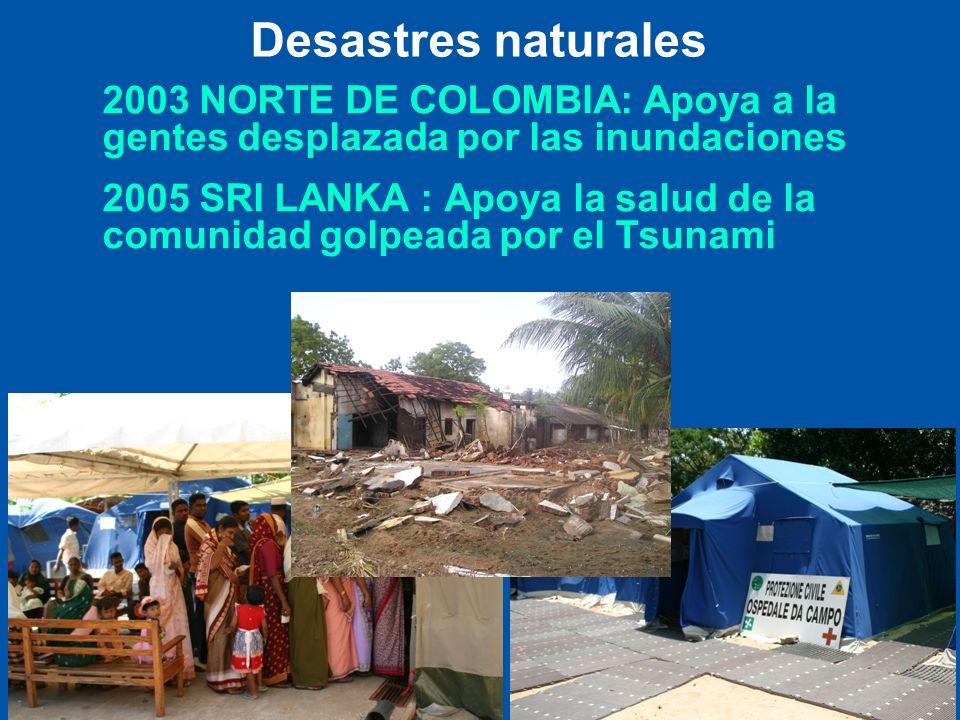 Desastres naturales 2003 NORTE DE COLOMBIA: Apoya a la gentes desplazada por las inundaciones.