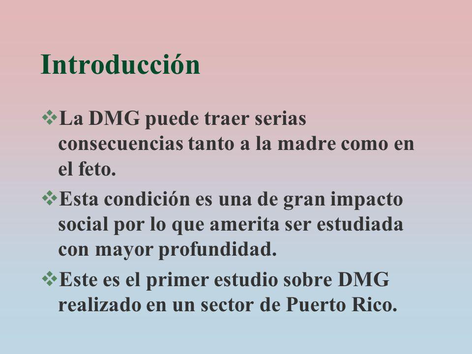 Introducción La DMG puede traer serias consecuencias tanto a la madre como en el feto.