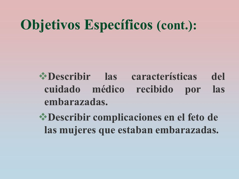 Objetivos Específicos (cont.):